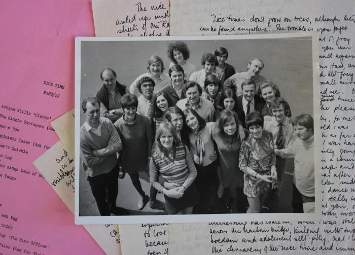 "Granada TV's Nice Time cast and crew, undated, c. 1968 with other records related to the TV series, including one of Germaine's Nice Time scripts from 1969 and the handwritten memoir (""Nice Times don't grow on trees"") from 1968. All records from the Germaine Greer Collection, University of Melbourne Archives. Picture: Kate Hodgetts/University of Melbourne Archives<p></p>"