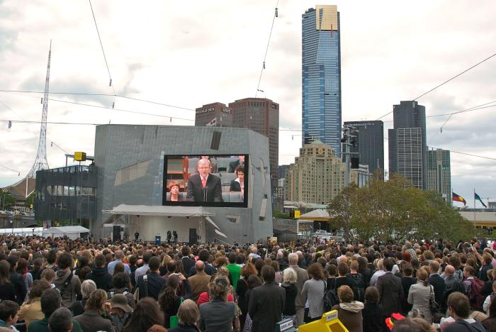 Watching a public broadcast of then Prime Minister Kevin Rudd's historic Apology to the Stolen Generations in Federation Square, Melbourne. Picture: Wikipedia