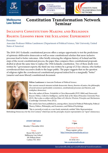 Constitution Transformation Network and CCCS Seminar: Inclusive Constitution-Making and Religious Rights: Lessons from the Icelandic Experiment