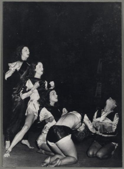 The Demon Machine, Australia and New Zealand 1947. Once established in Sydney, Bodenweiser worked with Australian dancers like (left to right) Coralie Hinkley, Margaret Chapple, Moira Claux, Eileen Cramer, and Mardi Watchorn, who went on to become the next generation of modern dance teachers and creators. Picture: National Library of Australia