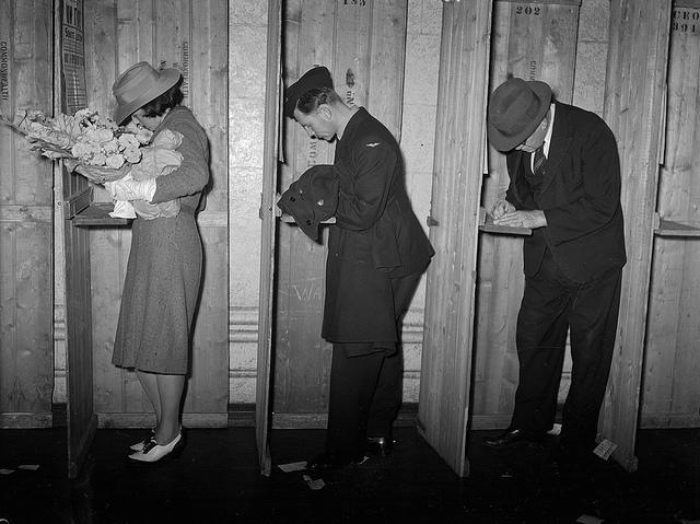 West Australians vote in Perth in 1940, 16 years after compulsory voting was introduced. Picture: State Library of WA