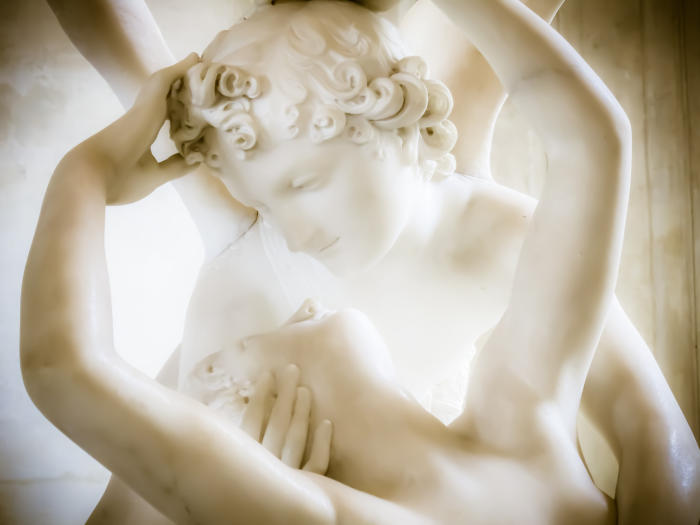 Antonio Canova's sculpture 'Psyche Revived by Cupid's Kiss'. Every Valentine's Day romantic love is idealised, which perhaps can put pressure on couples dealing with the vagaries of real romantic relationships. Picture: Dany/Flickr