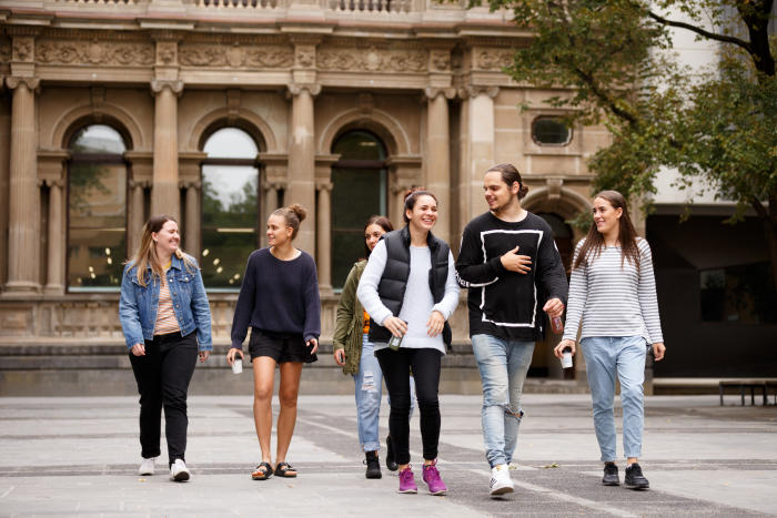 Indigenous secondary school students touring the University of Melbourne in 2016 as guests of Murrup Barak Melbourne Institute for Indigenous Development. Picture: John Henry for University of Melbourne