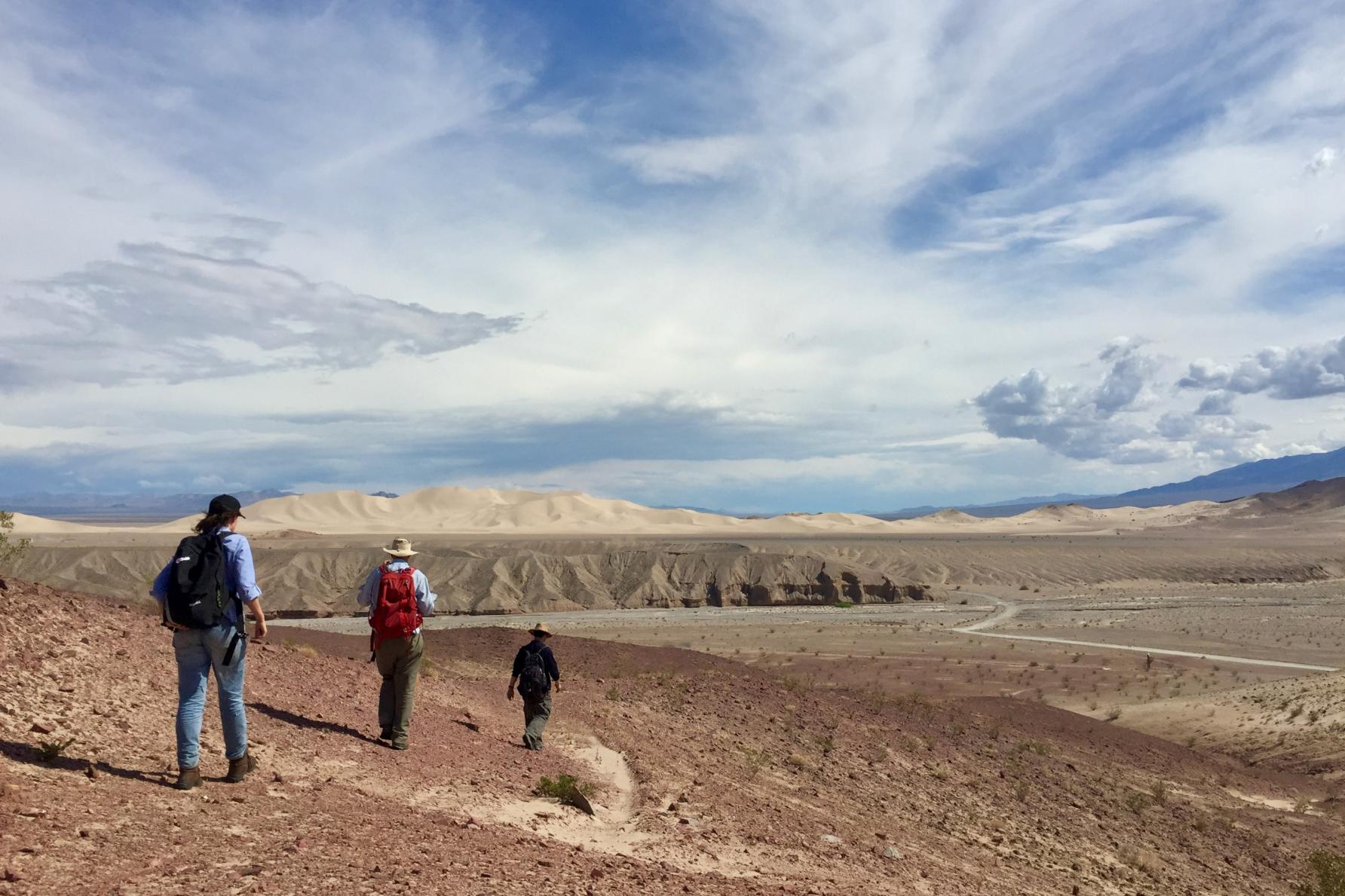 three people walk away in desert landscape under cloudy, windy sky