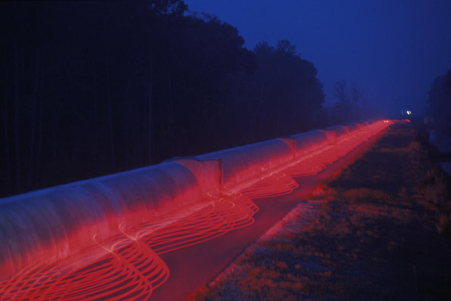 Lasers sent down the Laser Interferometer Gravitational Wave Observatory in Louisiana