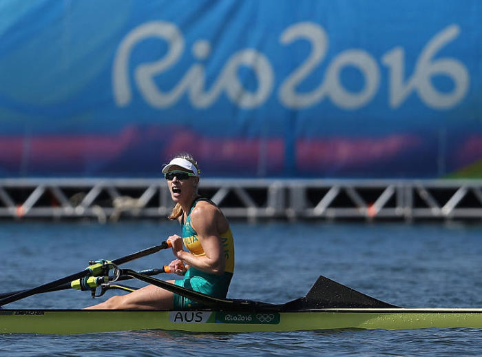 Kim Brennan celebrates winning the gold medal in the women's single sculls at the Rio Olympics. Picture: Christian Petersen/Getty Images