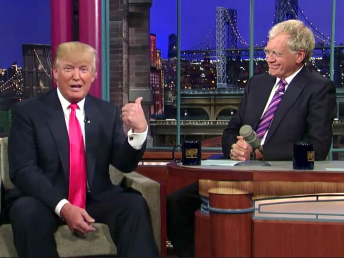 Donald Trump with Dave Letterman in 2012. Picture: Late Show With David Letterman/CBS