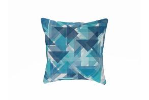 Retro Triangles Blue Cushion
