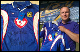 Replica Pompey shirt signed by Paul Merson