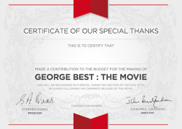 YOUR NAME IN THANK-YOU SECTION OF DVD + Certificate + Screenplay