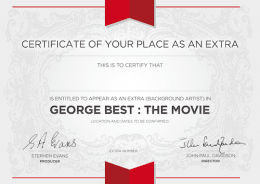 BE AN EXTRA IN THE MOVIE + Certificate + Screenplay