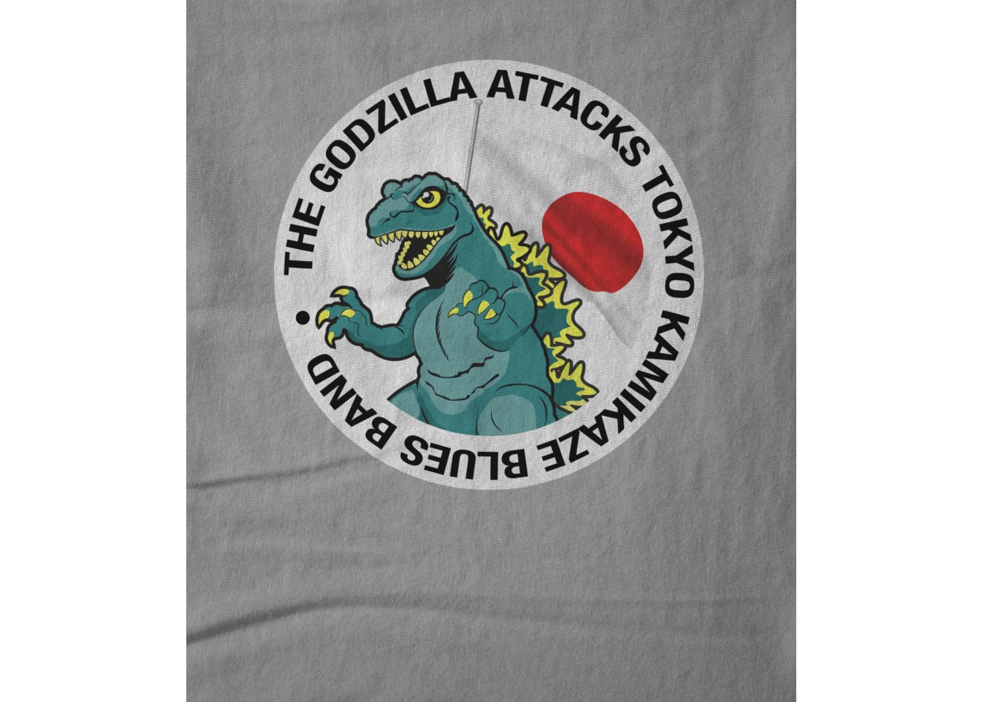 The godzilla attacks tokyo kamikaze blues band  godzilla logo tee 1601408911