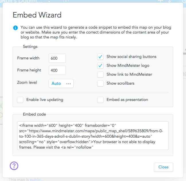Embed Wizard MindMeister