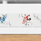 Michael Bell-Smith, Cut (Blue Splash, Spacer, Red Splash, Repeat), 2017, machine cut vinyl on Dibond (in four panels), 54 x 45 in. (137.16 x 114.3 cm.) each, overall dimensions variable