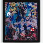 Petra Cortright, buffy keepers+kick.rom, 2015, digital painting, duraflex, UV print, stickers, mounted on acrylic, 54.5 × 47.5 × 1.25 in. (138.43 × 120.65 × 3.17 cm.,) PC_FP3018