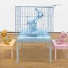 Brian Kokoska, Love Triangle (Goofy Cage Slave), 2018, wooden furniture, fiberglass, vintage stuffed animals, metal cage, spray paint, latex, dimensions variable