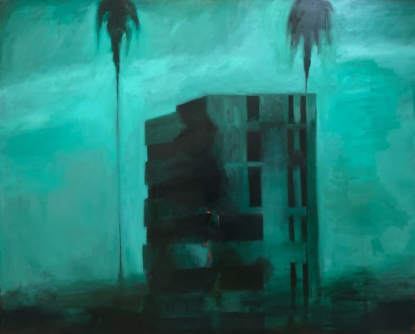 "Palms (Don't be an Insurgent) 2021 oil on linen 48x60""/122x153cm"
