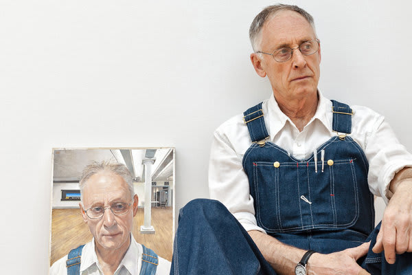 Neil Jenney with a portrait of himself by Joseph McNamara (2012-13), at Gagosian Gallery on Madison Avenue. Credit Robert Wright for The New York Times