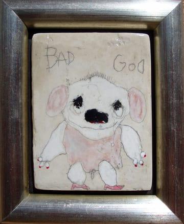 Bad God   mixed media 6x7 framed 2009 (sold)