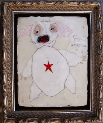 Fat American Pig,  mixed media 5x6 in 2008  (sold)