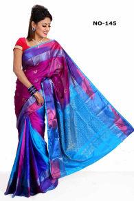 blue purpel +Soft Silk-Katan-Saree-145