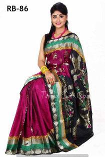 violet black+Soft Silk-Katan-Saree-RB-86