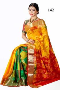 yellow green stripe +Soft Silk-Katan-Saree-142
