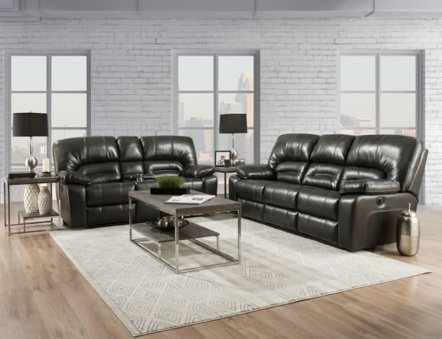 Dakota II Steel Living Room Collection - Dual Reclining Sofa & Loveseat