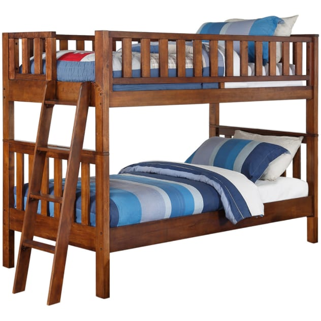 Quiz Twin Over Twin Bunk Bed - Brown - 2357