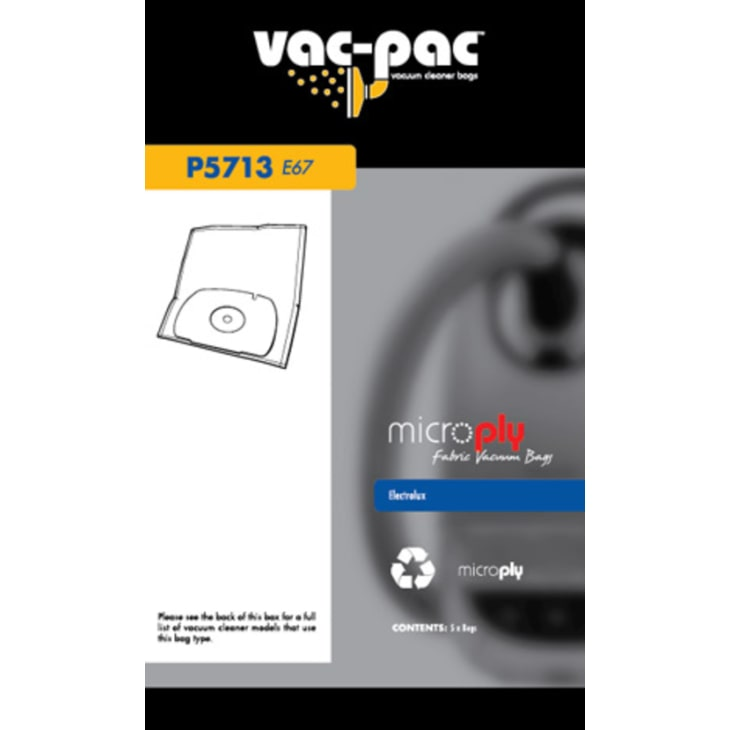 Vac-Pac E67 Microply Vacuum Cleaner Bags