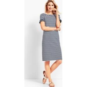 595da9ec9a21 Talbots: Ruffle Sleeve Slub Jersey Stripe Shift Dress from Talbots.