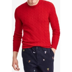 Polo Ralph Lauren Mens Cable Knit Cashmere Sweater From Macys