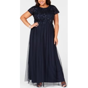 Adrianna Papell Plus Size Sequined Tulle A Line Gown From Macys