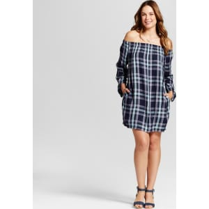 22336f0e551f Women s Plaid Off the Shoulder Dress - Knox Rose Navy Xl
