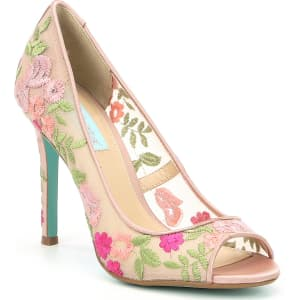 Betsey Johnson Blue by Betsey Johnson Adley Fabric Mesh Flower Embroidered Peep-Toe Dress Pumps
