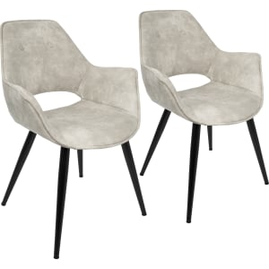 Lumisource Mustang Contemporary Accent Chair Set Of 2, Biege