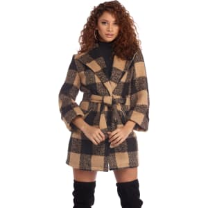 b16a2c6ab4 Black Perfectly Plaid Wool Coat from Windsor.
