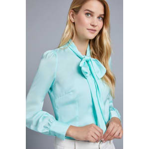 ca94d4292020c Women s Light Green Plain Fitted Satin Blouse - Pussy Bow from Hawes ...