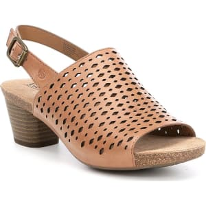 Josef Seibel Rose 27 Slingback Perforated Detail Block Heel Sandals