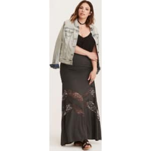 f4abe352e1 Lace Inset Maxi Skirt in Black/White from Torrid.