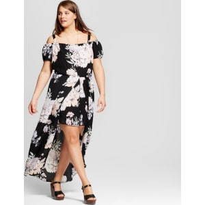 Women\'s Plus Size Floral Maxi Dress Black 3x - Lily Star (Juniors\')