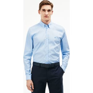 37b97603a3 Lacoste Men's Slim Fit Stretch Cotton Poplin Shirt - Lagoon Blue