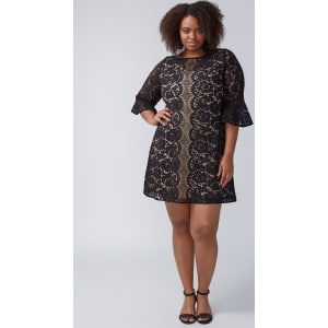 7ba8a524e044e Lane Bryant Women s Flounce-Sleeve Lace Dress 28p Black With Nude Lining  from Lane Bryant.