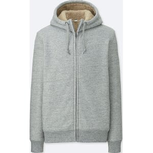 Men Pile Lined Sweat Long Sleeve Full-Zip Hoodie from Uniqlo. 453850917