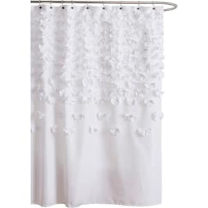 Lush Decor Lucia Scattered Flower Texture Shower Curtain White From