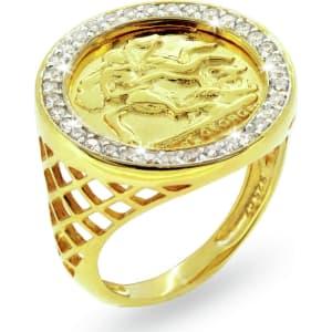 3afede5570971 Revere Men's Gold Plated Sterling Silver Cz Medallion Ring