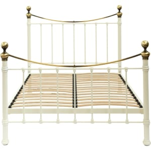 Hastings Ivory And Brass Bed Frame Single