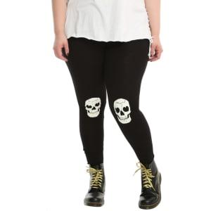 ae0baf7131b3d Blackheart Black & White Skull Knee Glow-In-The-Dark Leggings Plus ...