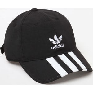 Adidas Mens Relaxed Applique Strapback Dad Hat - Black White from ... 9997efd9045