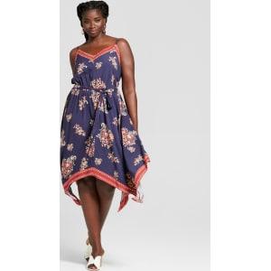 Women\'s Plus Size Floral Print Handkerchief Hem Dress - Xhilaration ...